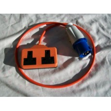 1 METRE GENERATOR FLY LEAD 16 amp PLUG TO 13 amp TWIN SOCKET 1m