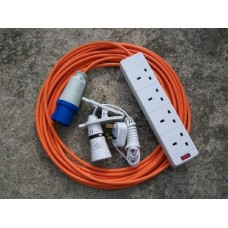 CAMPING ELECTRIC HOOK UP 10 MTR + 2 MTR CLIP ON LIGHT